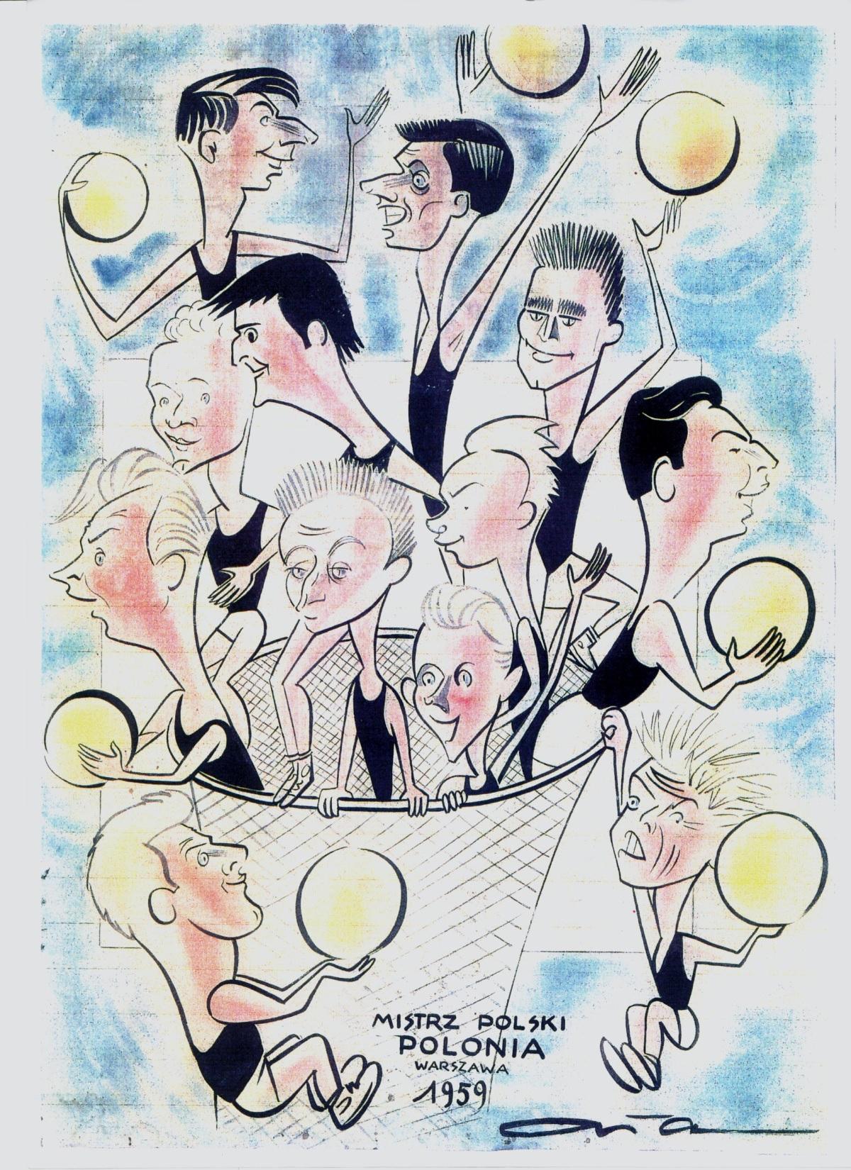 Karykatura Edwarda Ałaszewskiego przedstawiająca mistrzów Polski z 1959 roku.